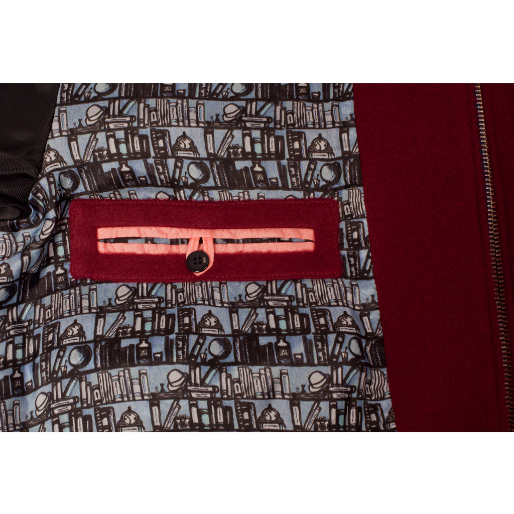 Red bomber jacket for men with inner pocket and printed cupro lining