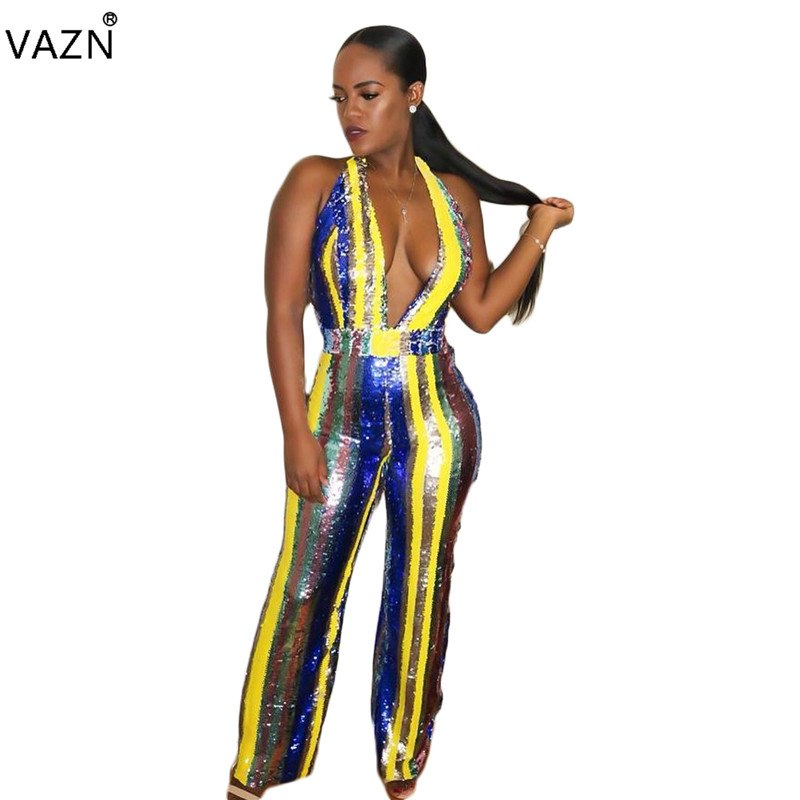 2019 New Arrival Sexy Sleeveless V Neck Waist Hollow Out Celebrity Party Women Bandage Skinny Jumpsuit Women's Clothing
