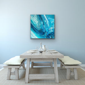 Blue Downwave Square Wall Art