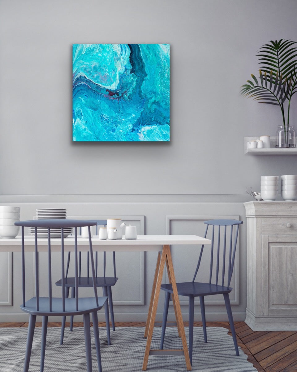 Blue Wave with Red Beat Wall Art