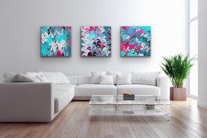 Pink Leaves with Aqua 3 Wall Art