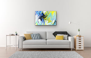Blue Kisses in Yellow Wall Art