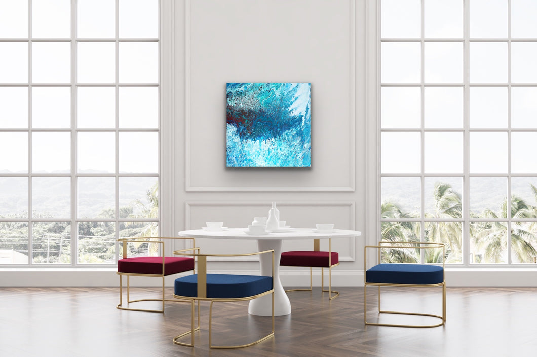 Turquoise Blue and Light Red 1 Wall Art