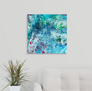 Blue with Red Splat Wall Art