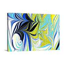 Load image into Gallery viewer, Blue Kisses in Yellow Wall Art
