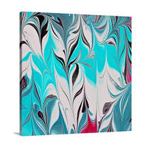Load image into Gallery viewer, Pink Leaves with Aqua 1 Wall Art