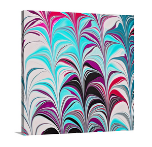 Pink Leaves with Aqua 2 Wall Art