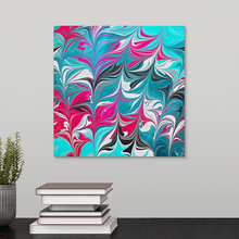 Load image into Gallery viewer, Pink Leaves with Aqua 3 Wall Art