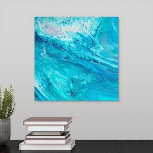 Blue Wave with Pink Wall Art