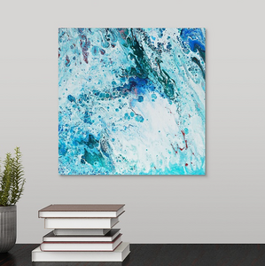 Turquoise Blue and Light Red 2 Wall Art