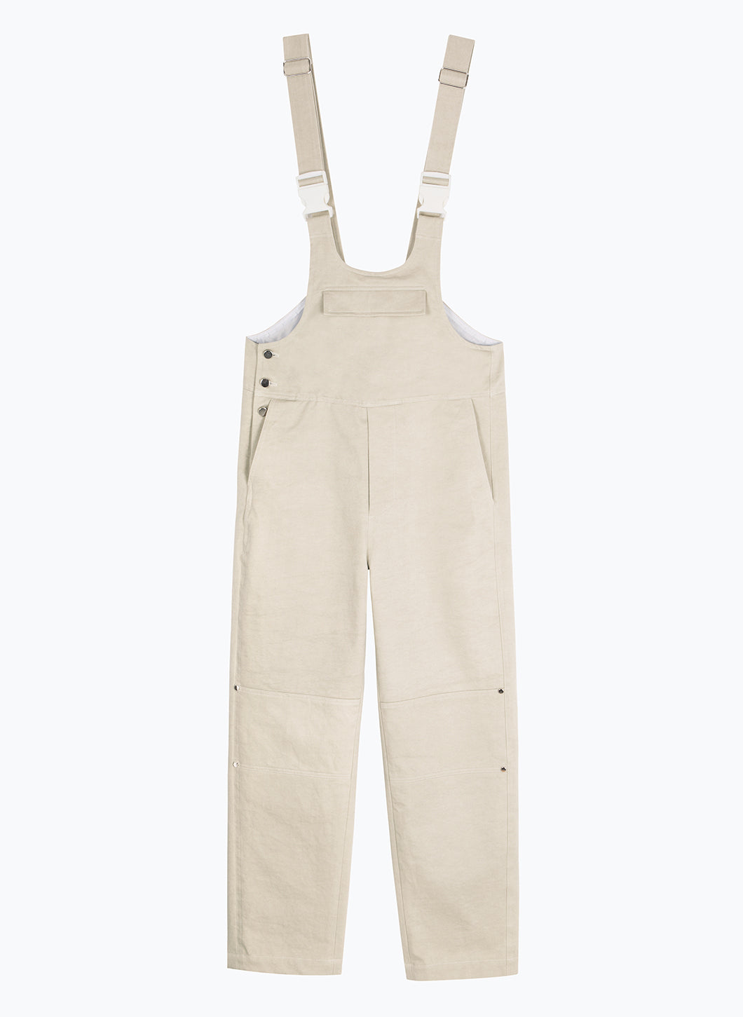 Overalls with Front Flap Pocket in Beige Cotton Twill