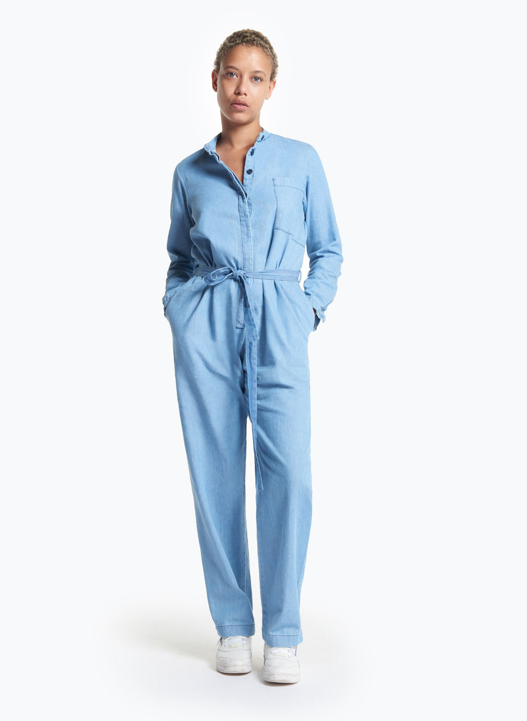Belted Jumpsuit in Bleached Denim