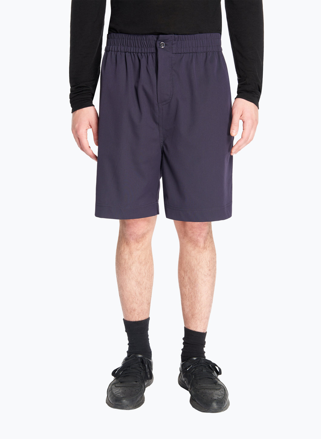Bermuda Shorts with Stitched Waist in Navy Blue Cool Wool