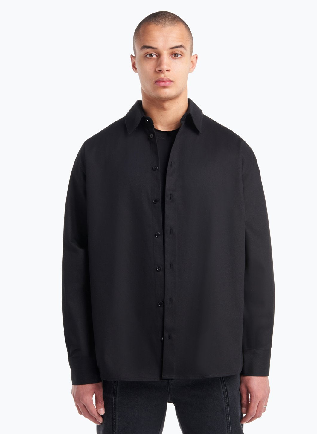 Classic Collar Overshirt in Black Gabardine