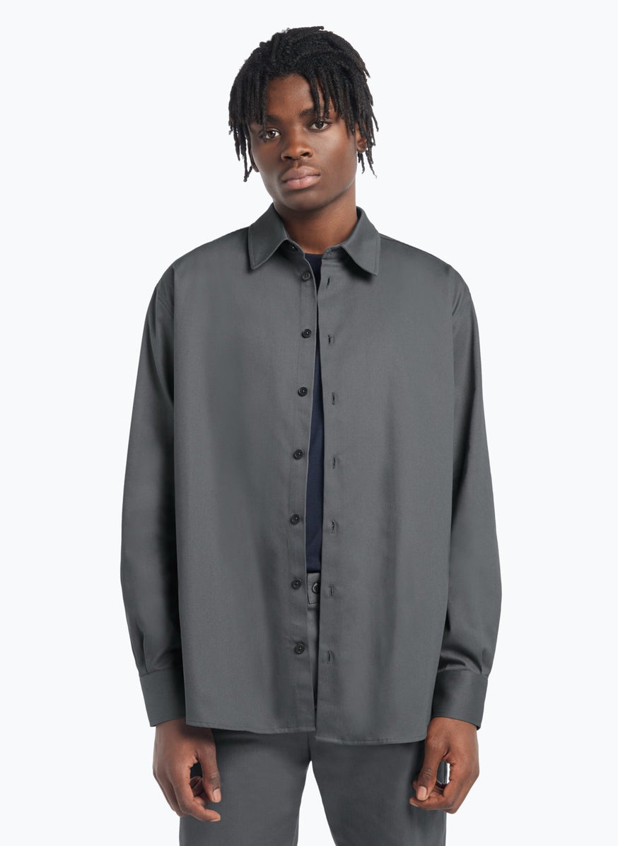 Classic Collar Overshirt in Grey Gabardine