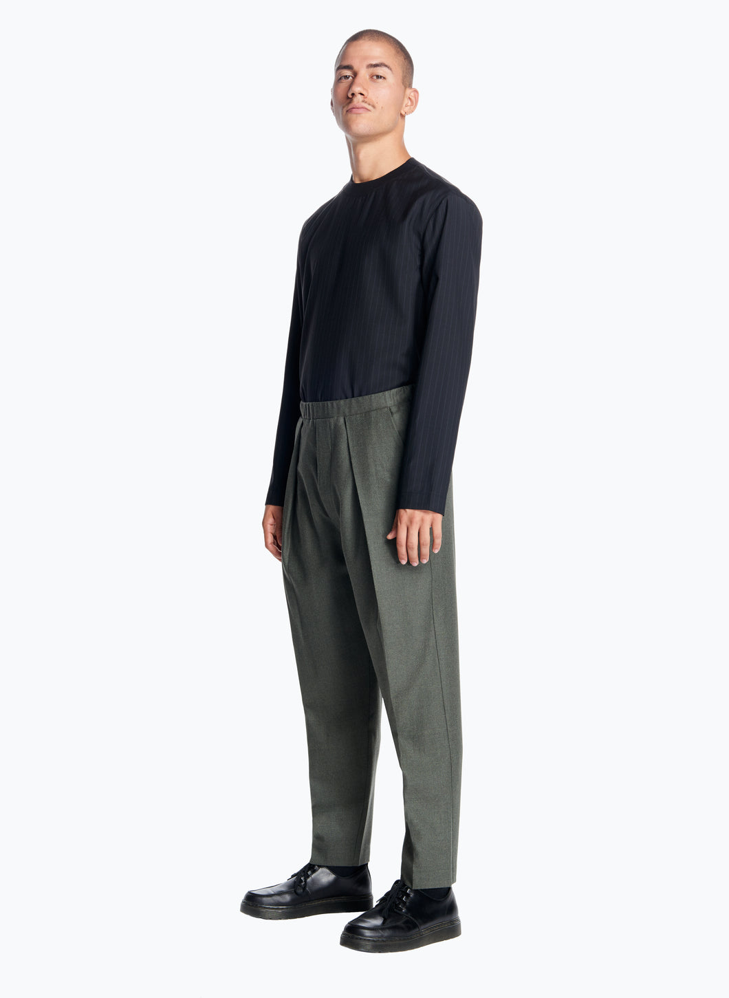 Elastic Waist Pants with Deep Pleats in Olive Flannel Wool