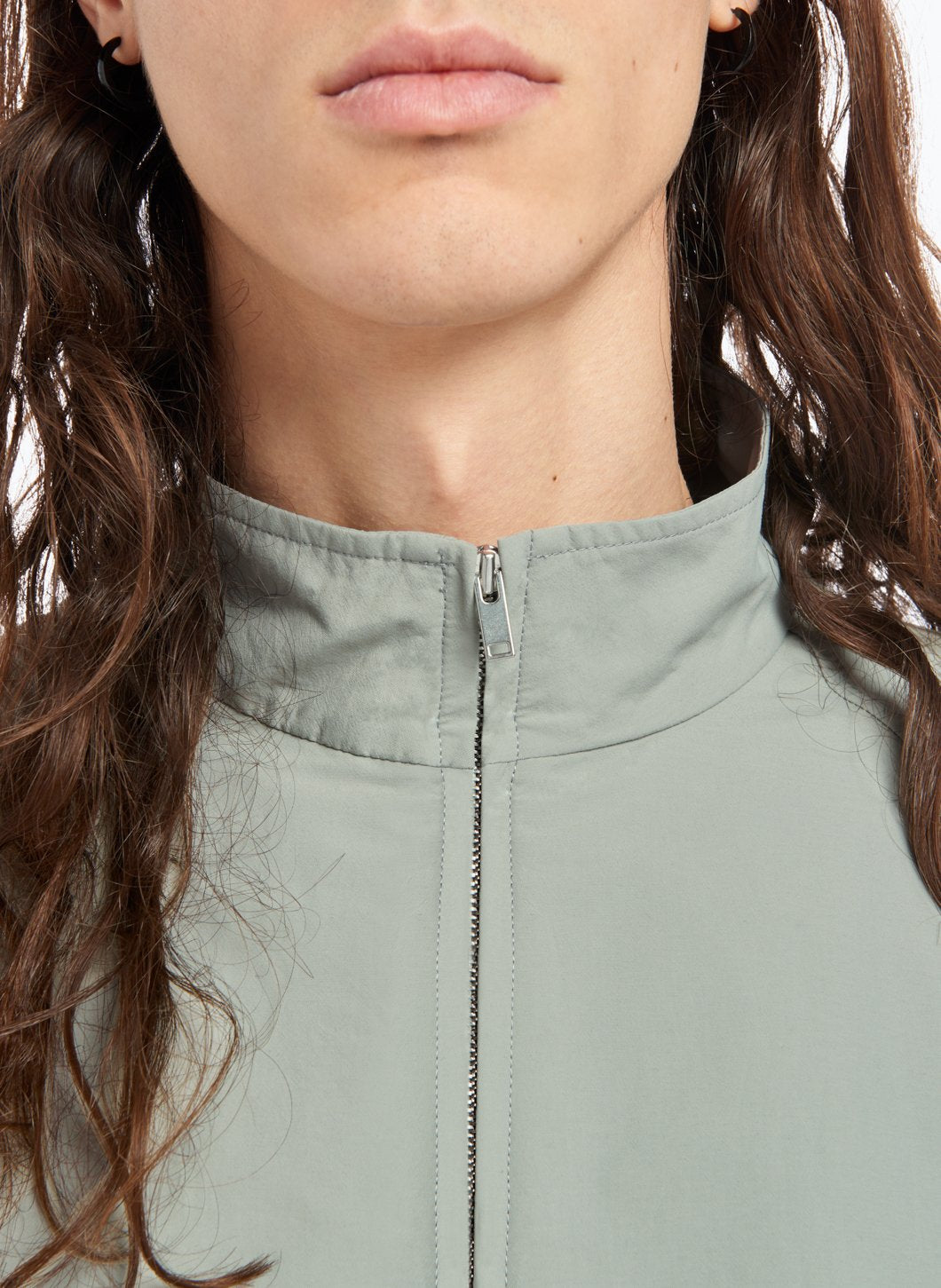 Funnel Neck Bomber Jacket in Mineral Green Technical Fabric