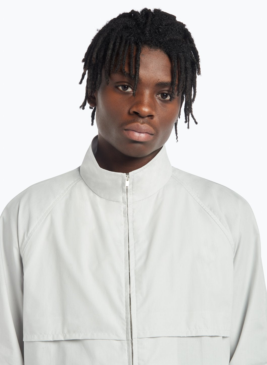 Funnel Neck Bomber Jacket in Light Grey Poplin