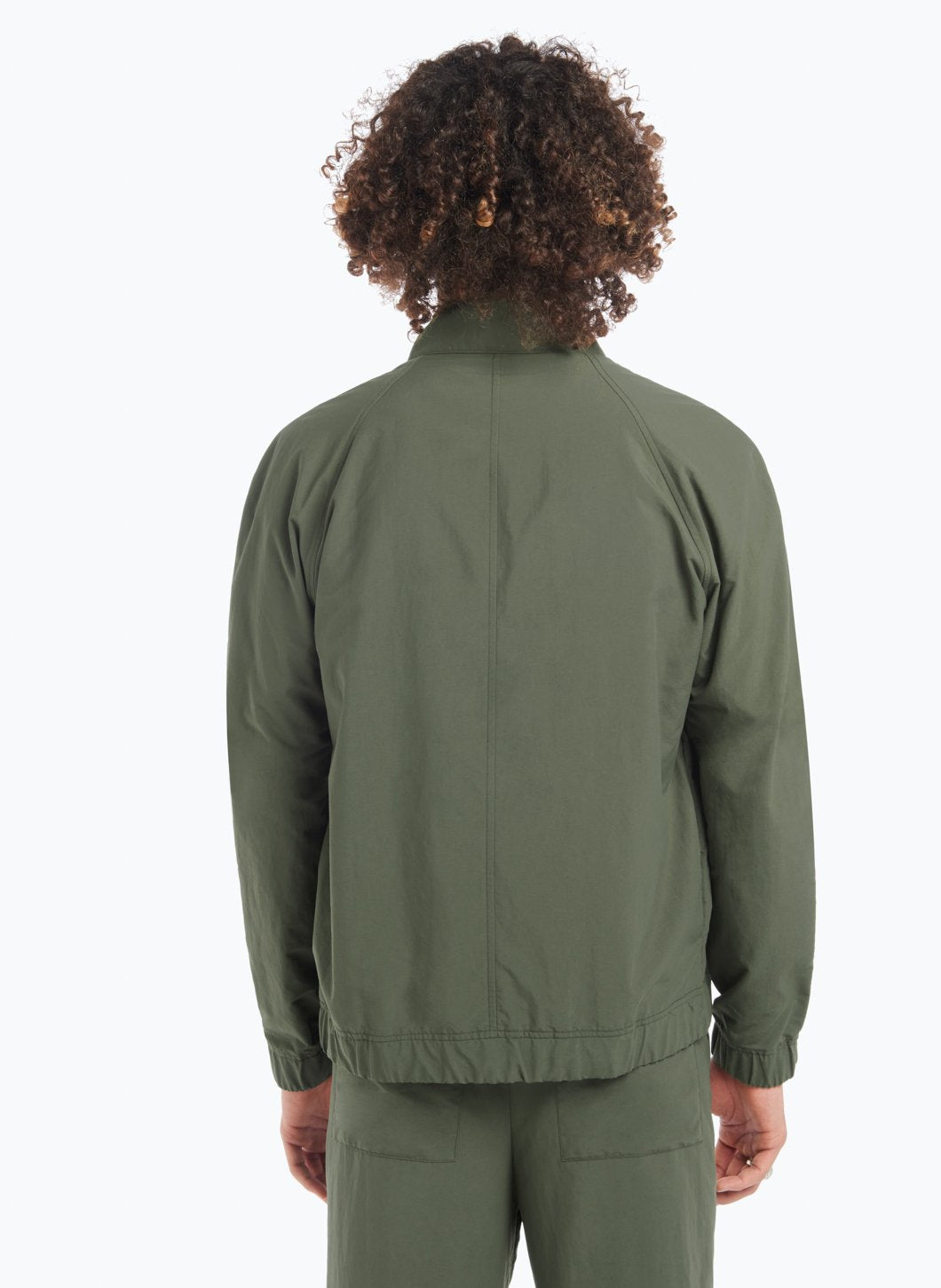 Funnel Neck Bomber Jacket in Olive Technical Fabric
