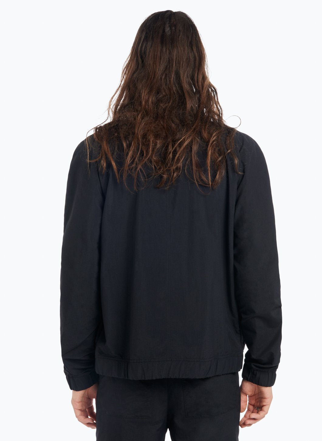 Funnel Neck Bomber Jacket in Black Technical Material