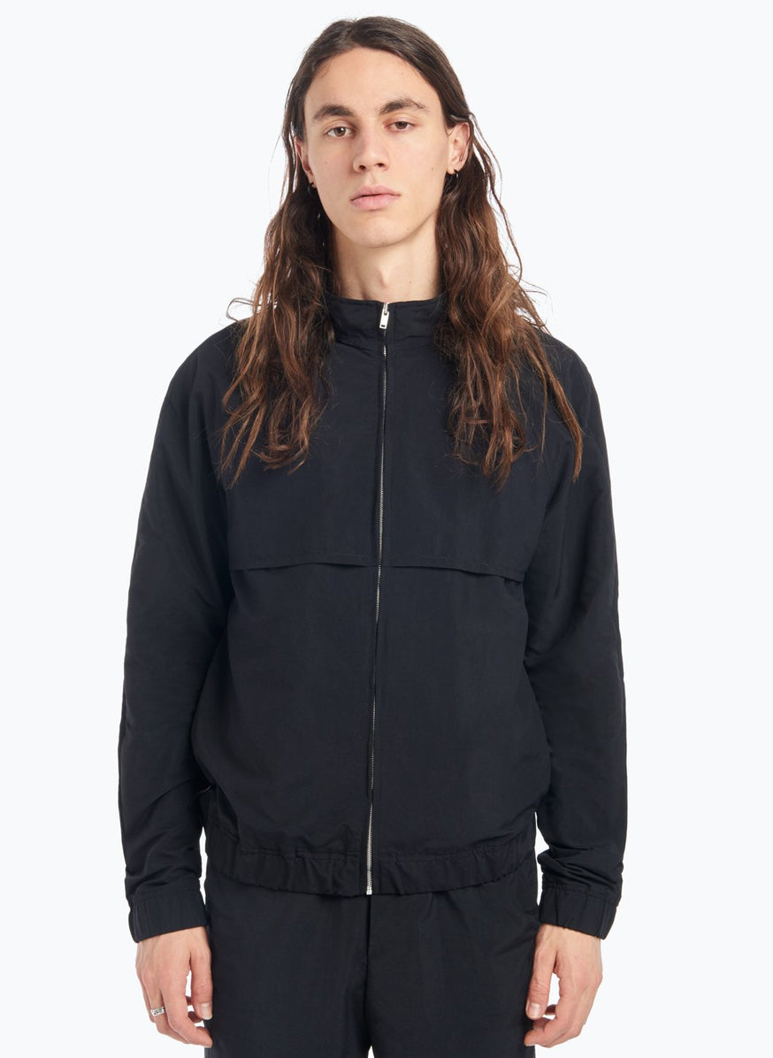 Funnel Neck Bomber Jacket in Black Technical Fabric