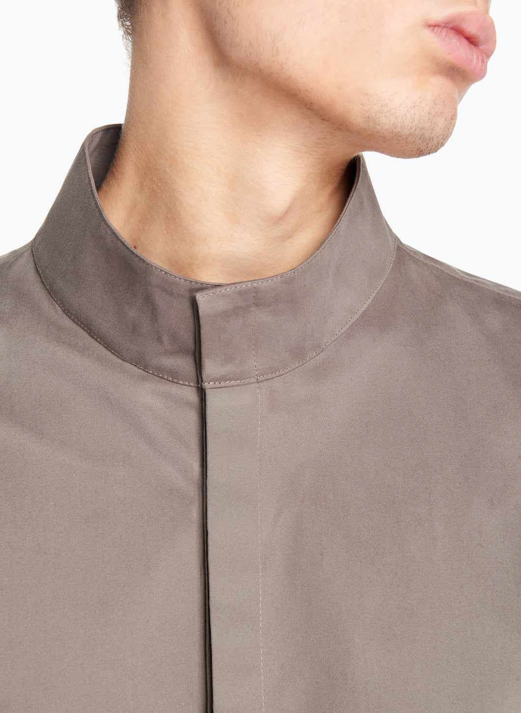 Funnel Neck Overshirt in Olive Cotton Satin