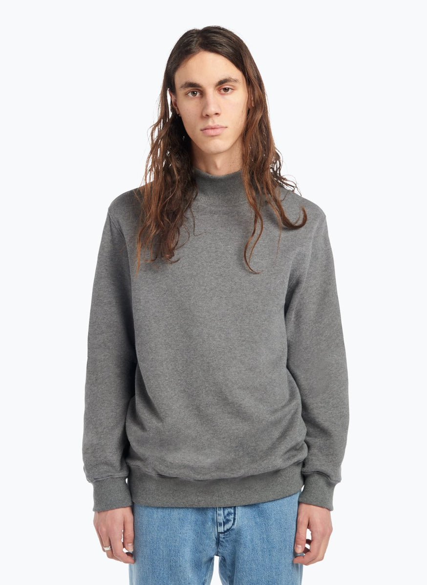 Funnel Neck Sweatshirt in Grey Fleece