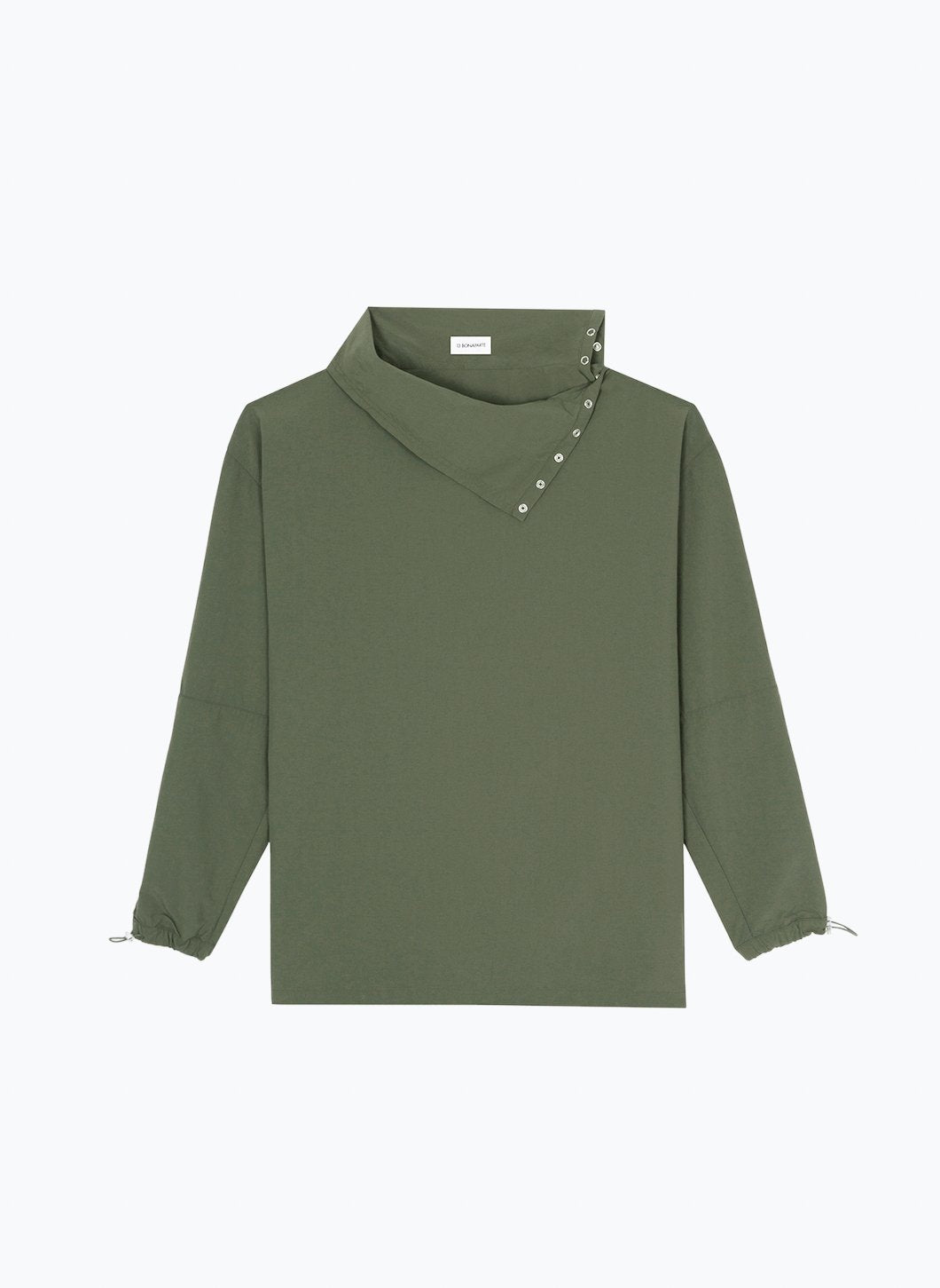 High Funnel Neck Sweatshirt with Side Buttons in Olive Technical Fabric