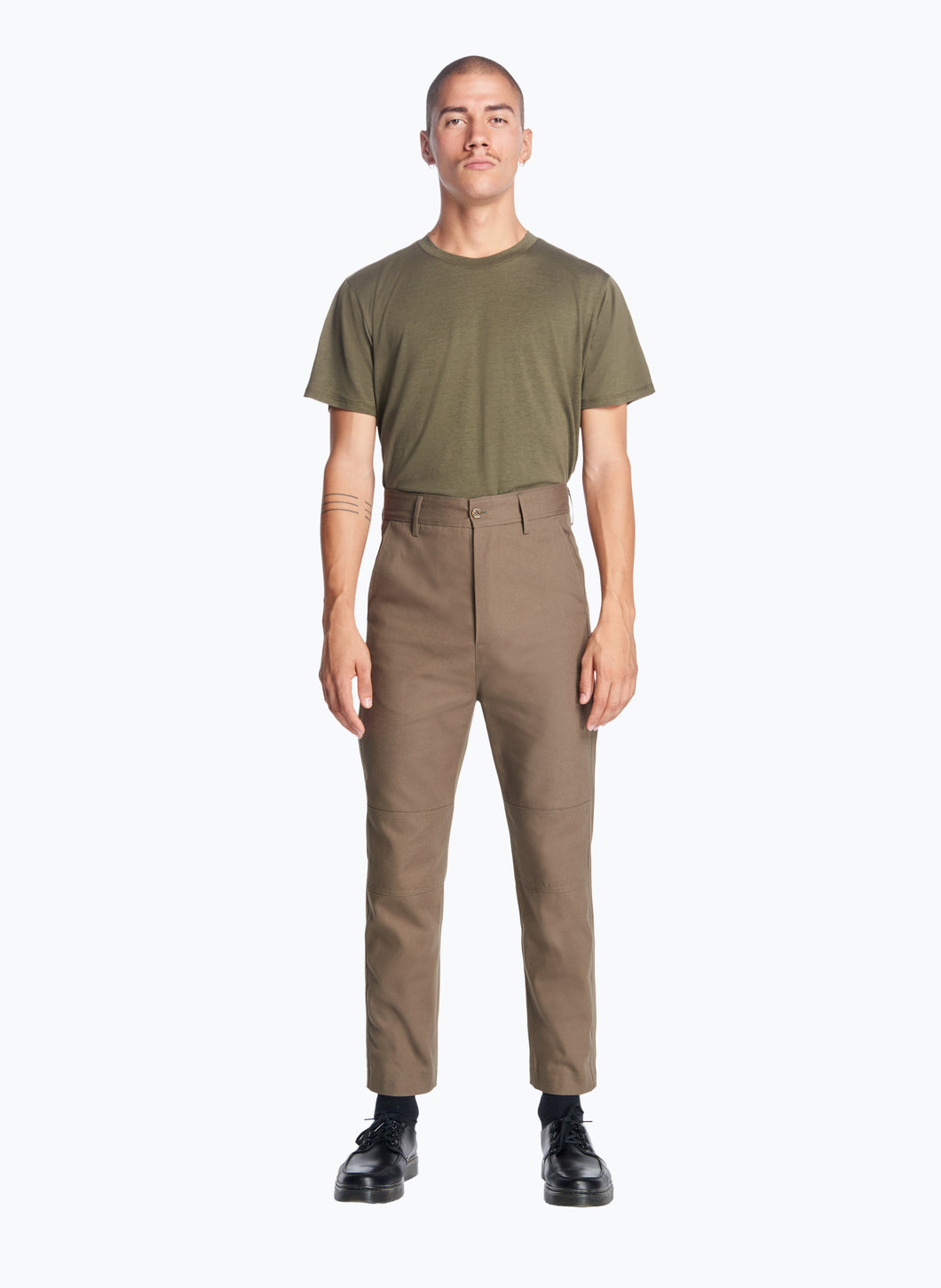 High-Waisted Pants with Reinforced Knees in Olive Canvas