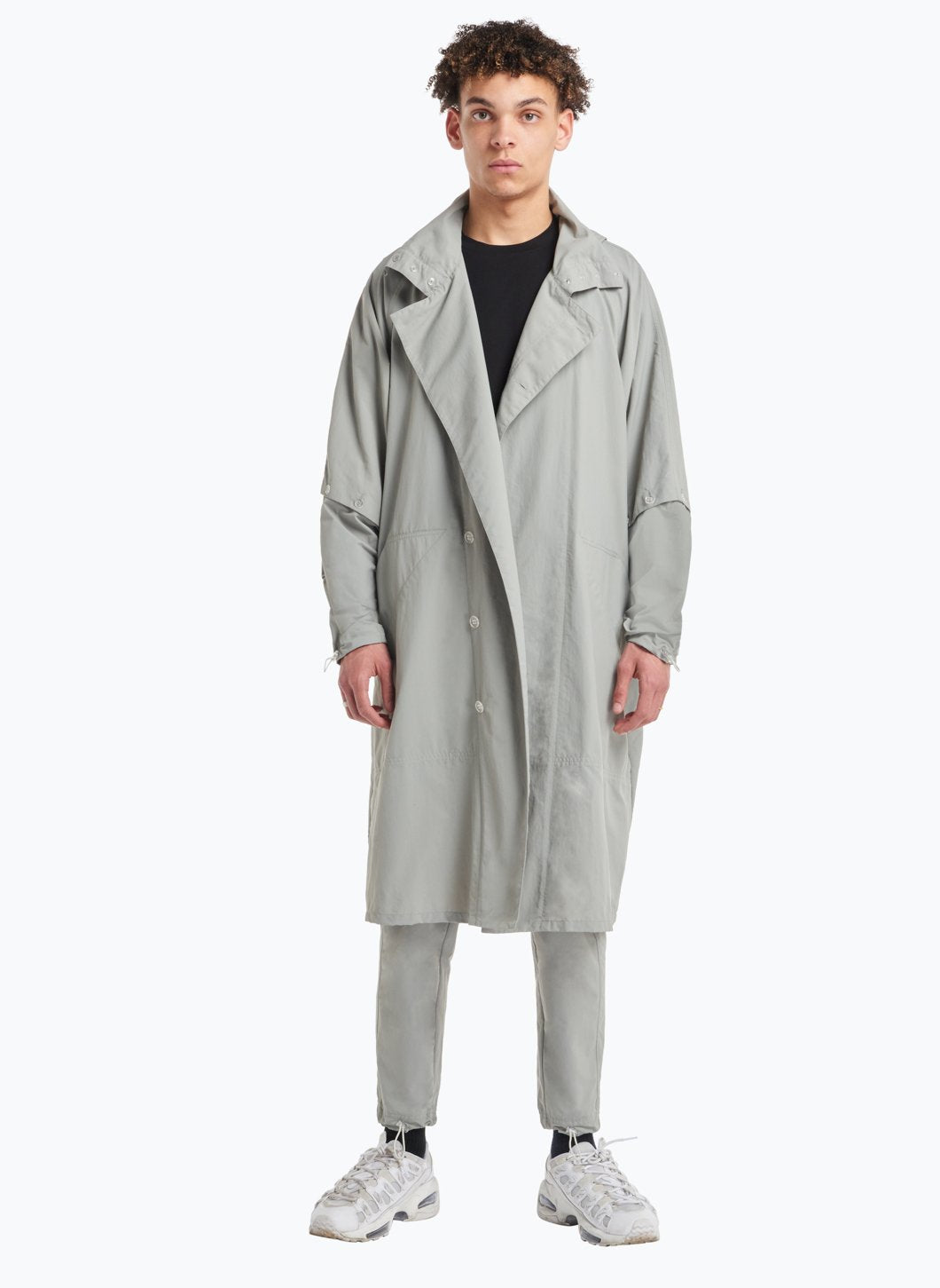 Hooded Overcoat in Grey Technical Fabric