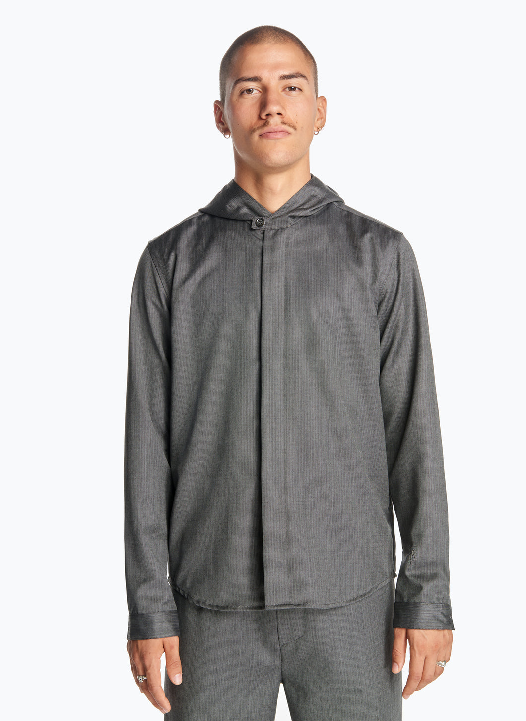 Hooded Overshirt in Grey Striped Cool Wool