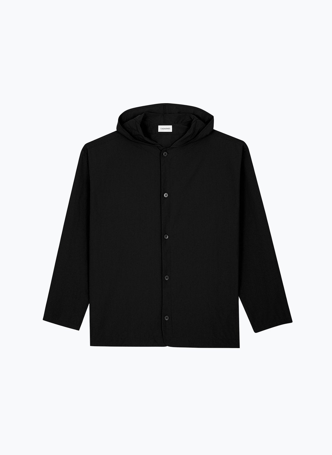 Hooded Overshirt with Rounded Neckline in Black Technical Fabric