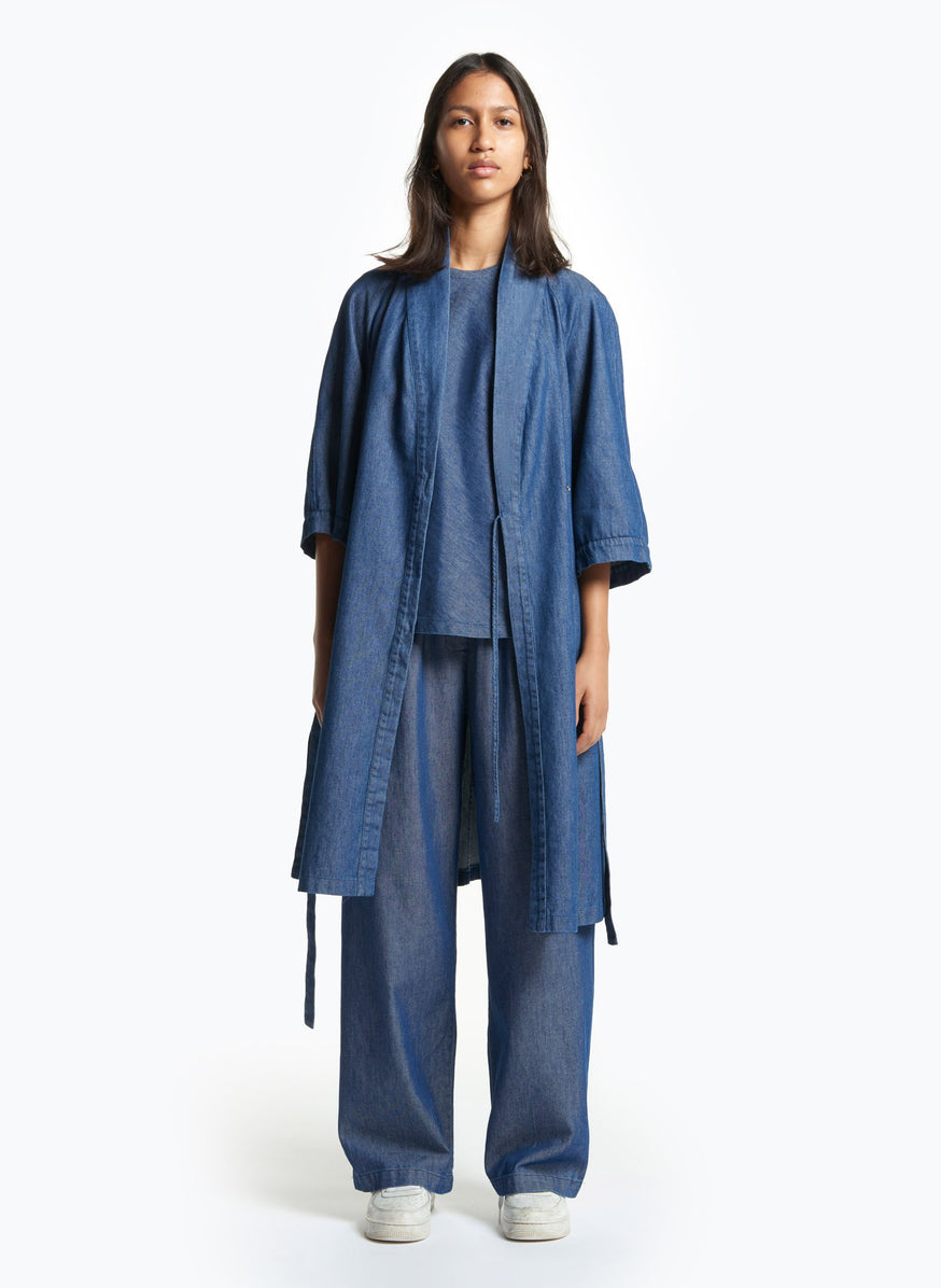 Kimono Dress in Washed Denim