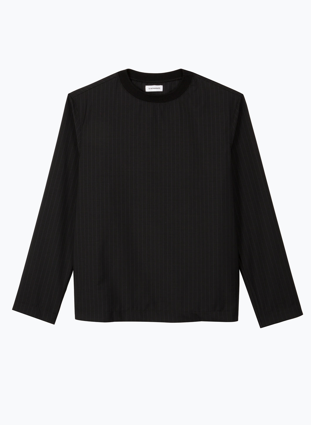 Long Sleeve T-Shirt with Edge-Ribbed Collar in Black Striped Cool Wool