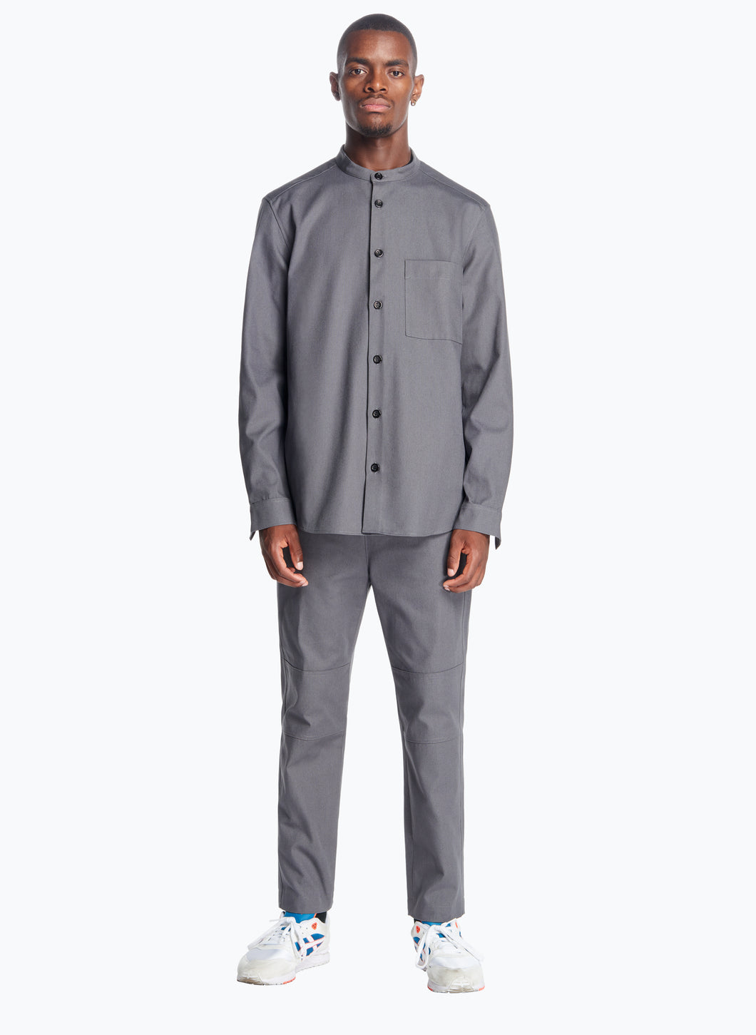 Mandarin Collar Overshirt in Dark Grey Canvas