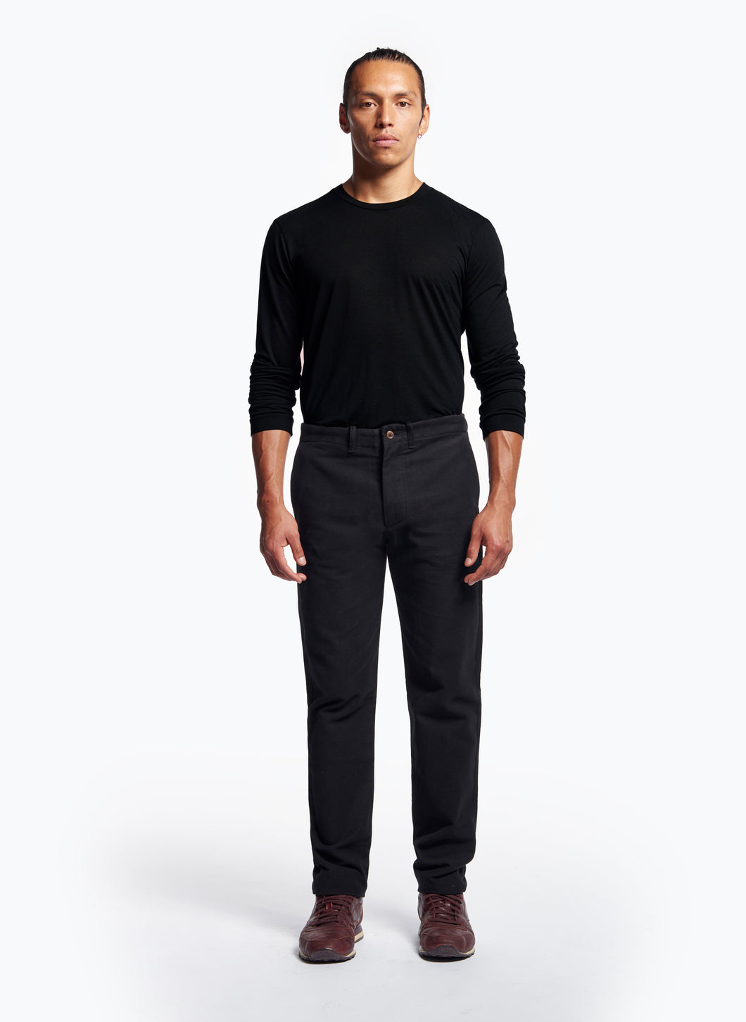 Pants with Italian Pockets in Black Moleskin