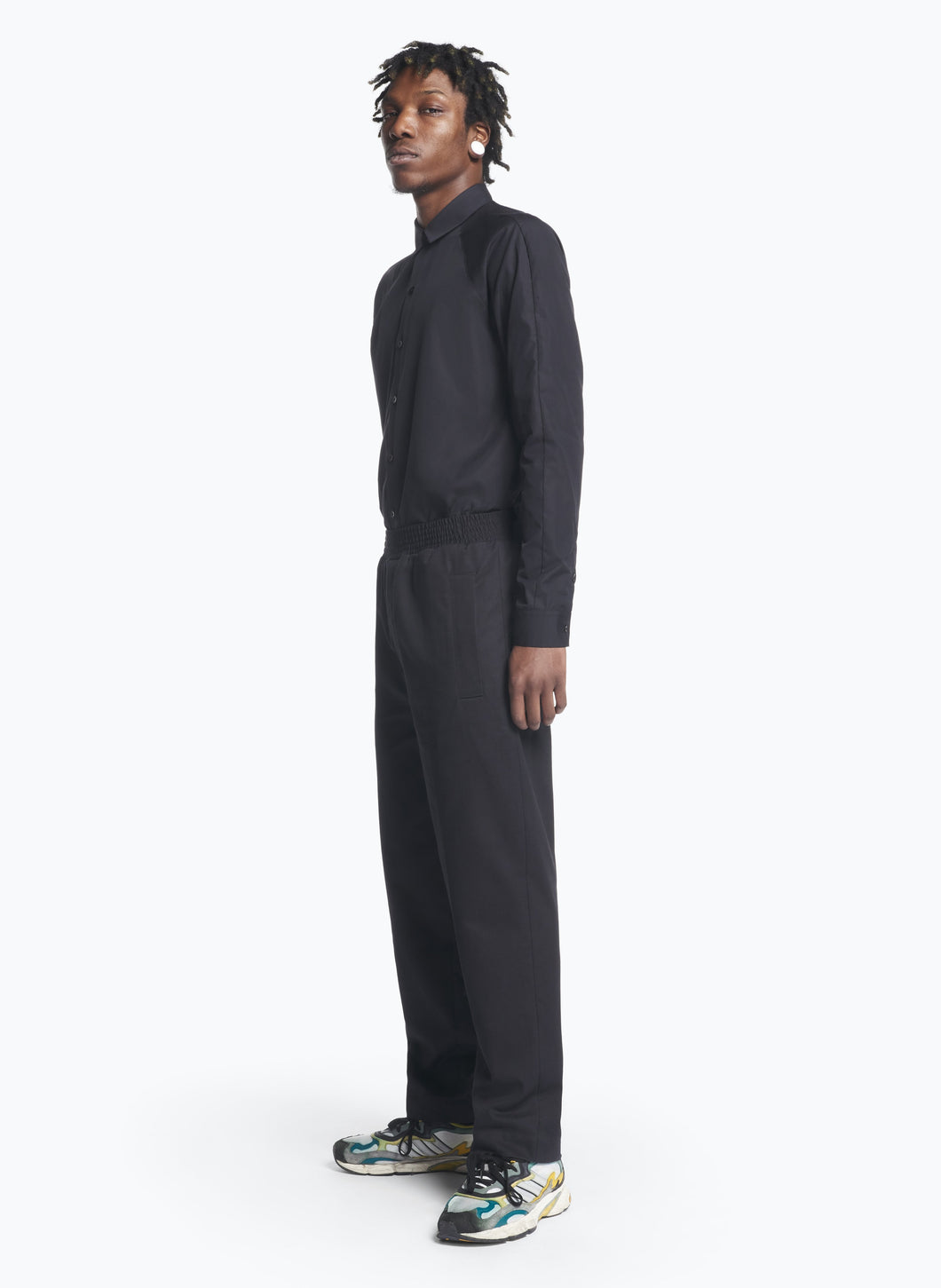 Pants with Large Elastic Waist in Black Gabardine