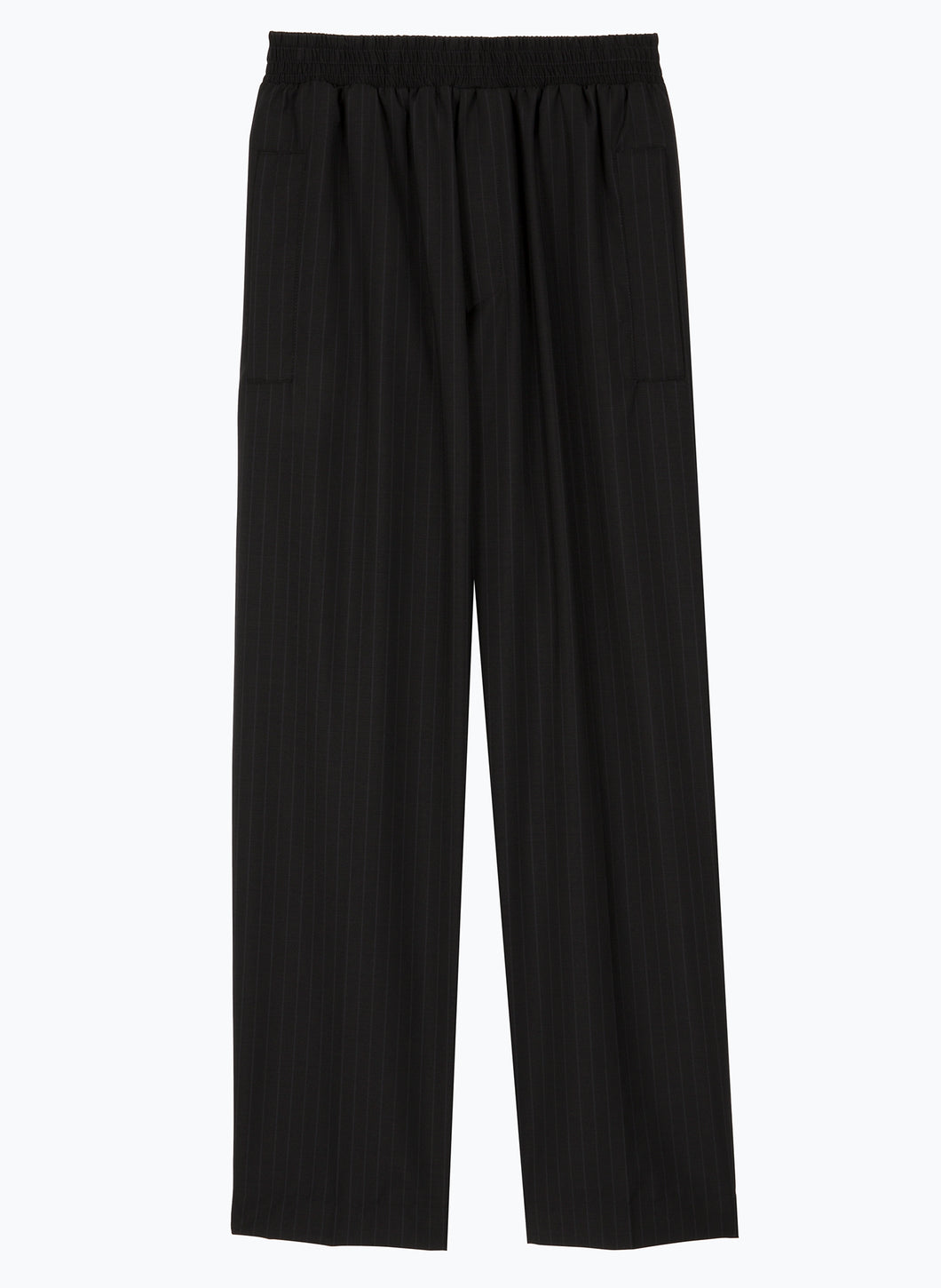 Pants with Large Elastic Waist in Black Striped Cool Wool