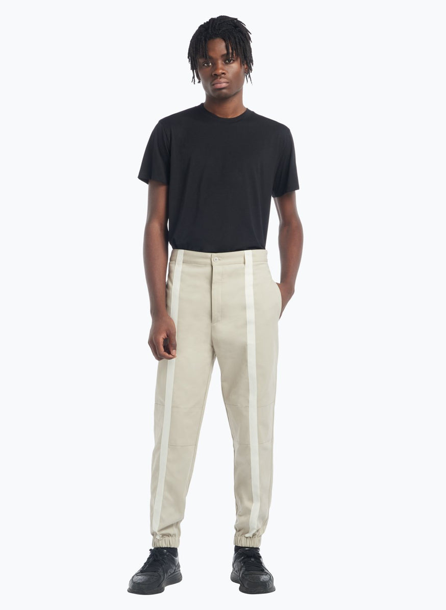 Pants with Vertical Bands in Beige Gabardine with White Satin Trim