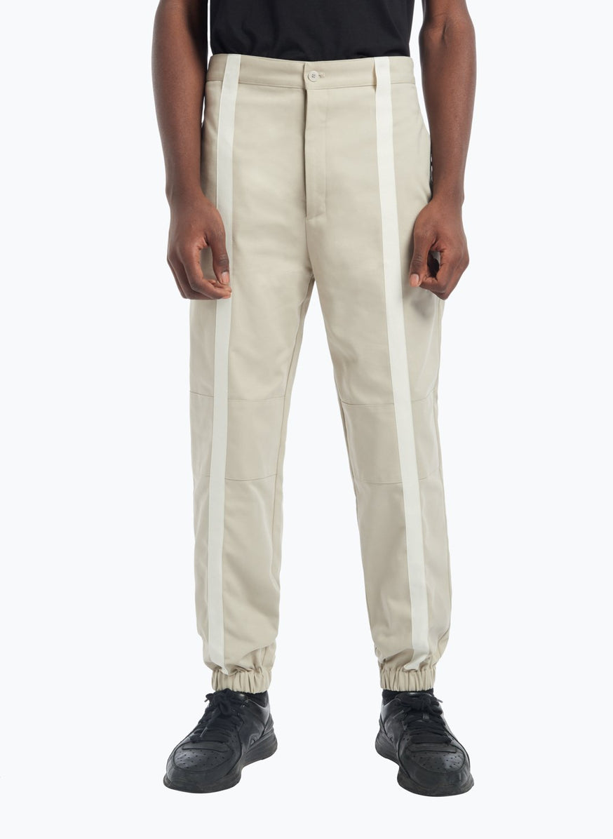 Pants with Vertical Bands in Beige Gabardine with White Cotton Trim