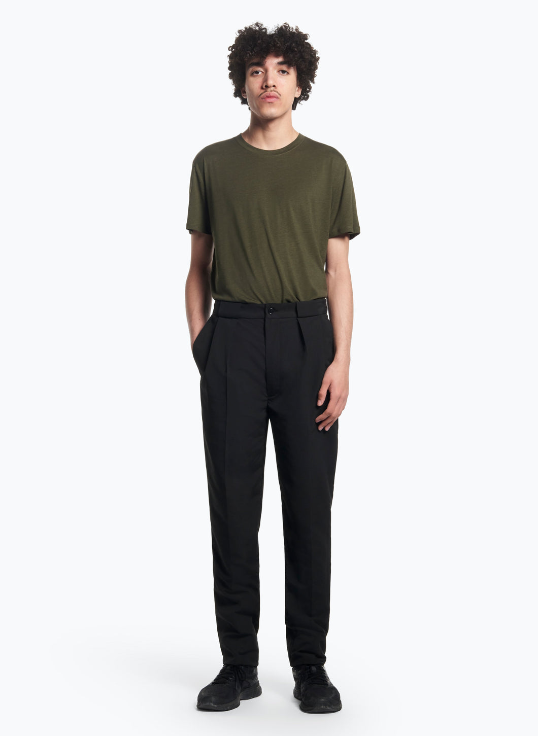 Pants with Passers-Pleats in Black Microfiber