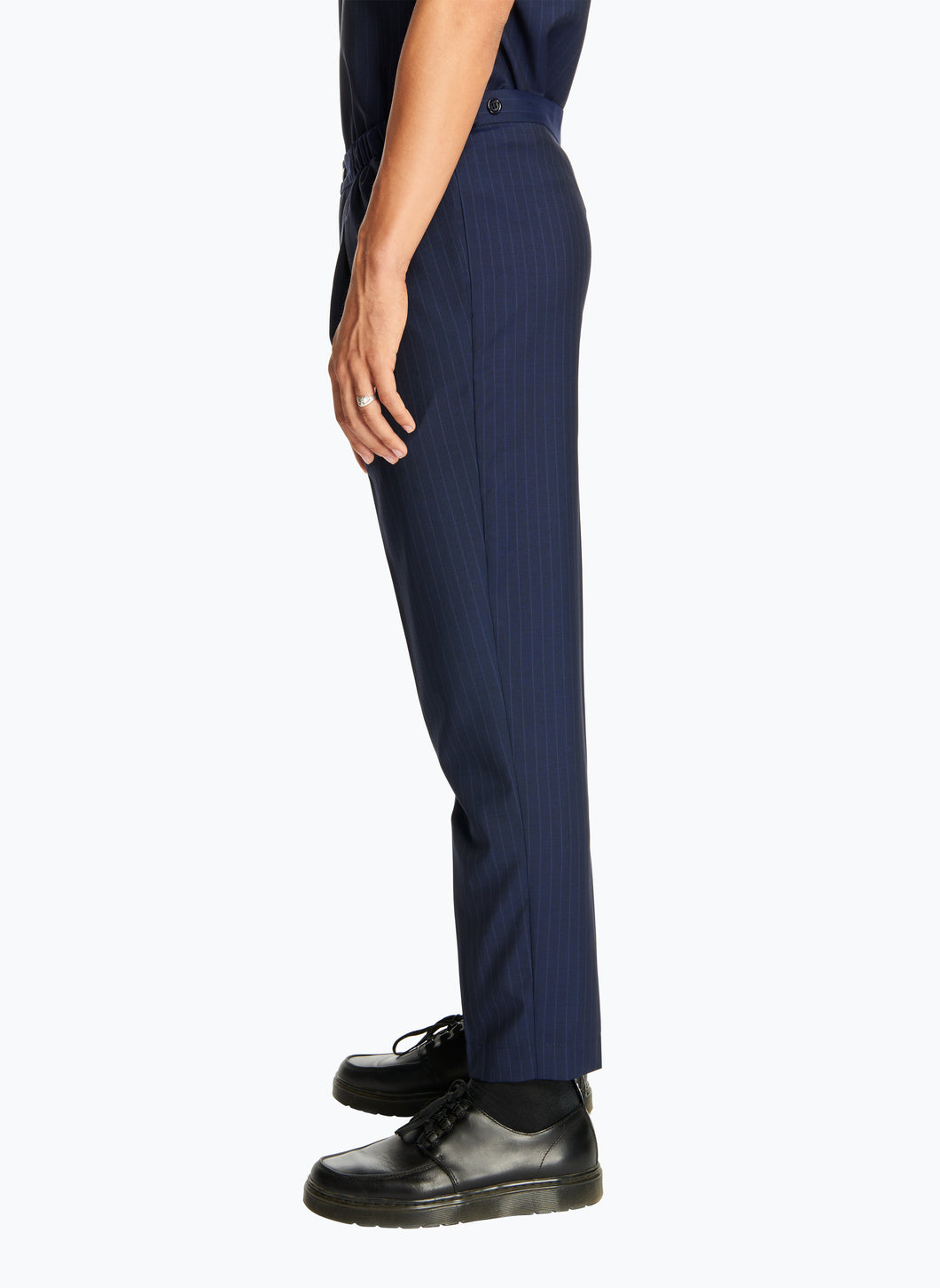 Pleated Pants with Elastic Sides in Navy Blue Striped Cool Wool