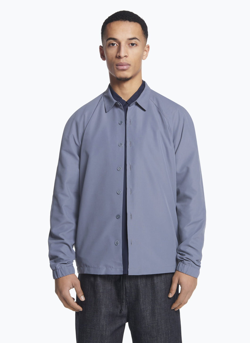 Raglan Sleeve Overshirt in Grey Microfiber