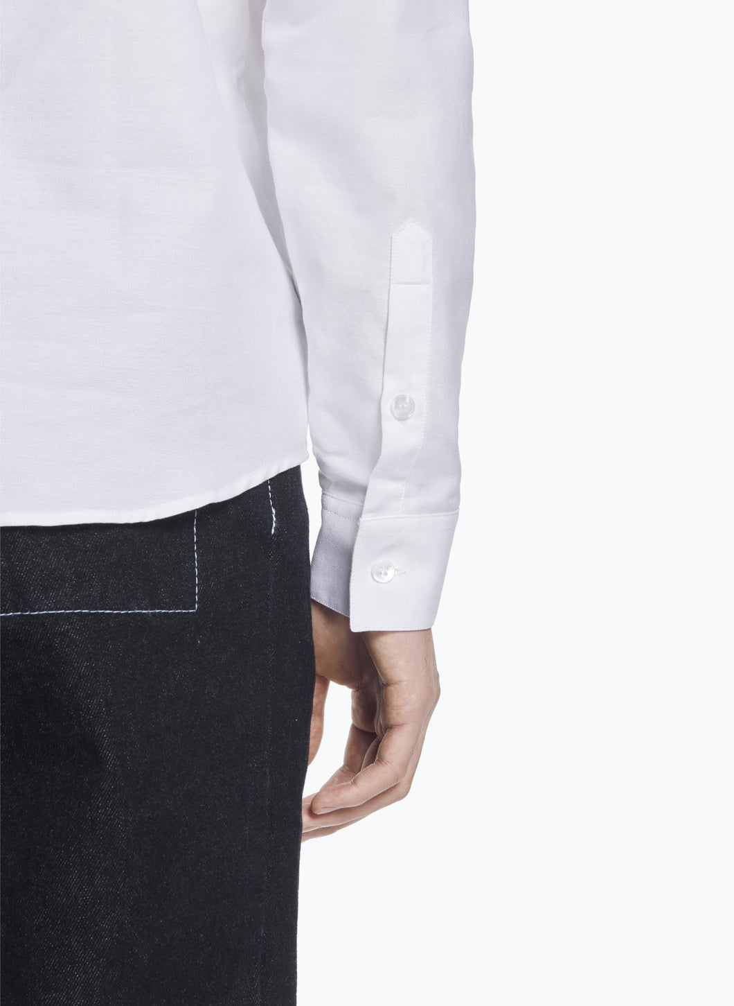 Raglan Sleeve Shirt in White Oxford