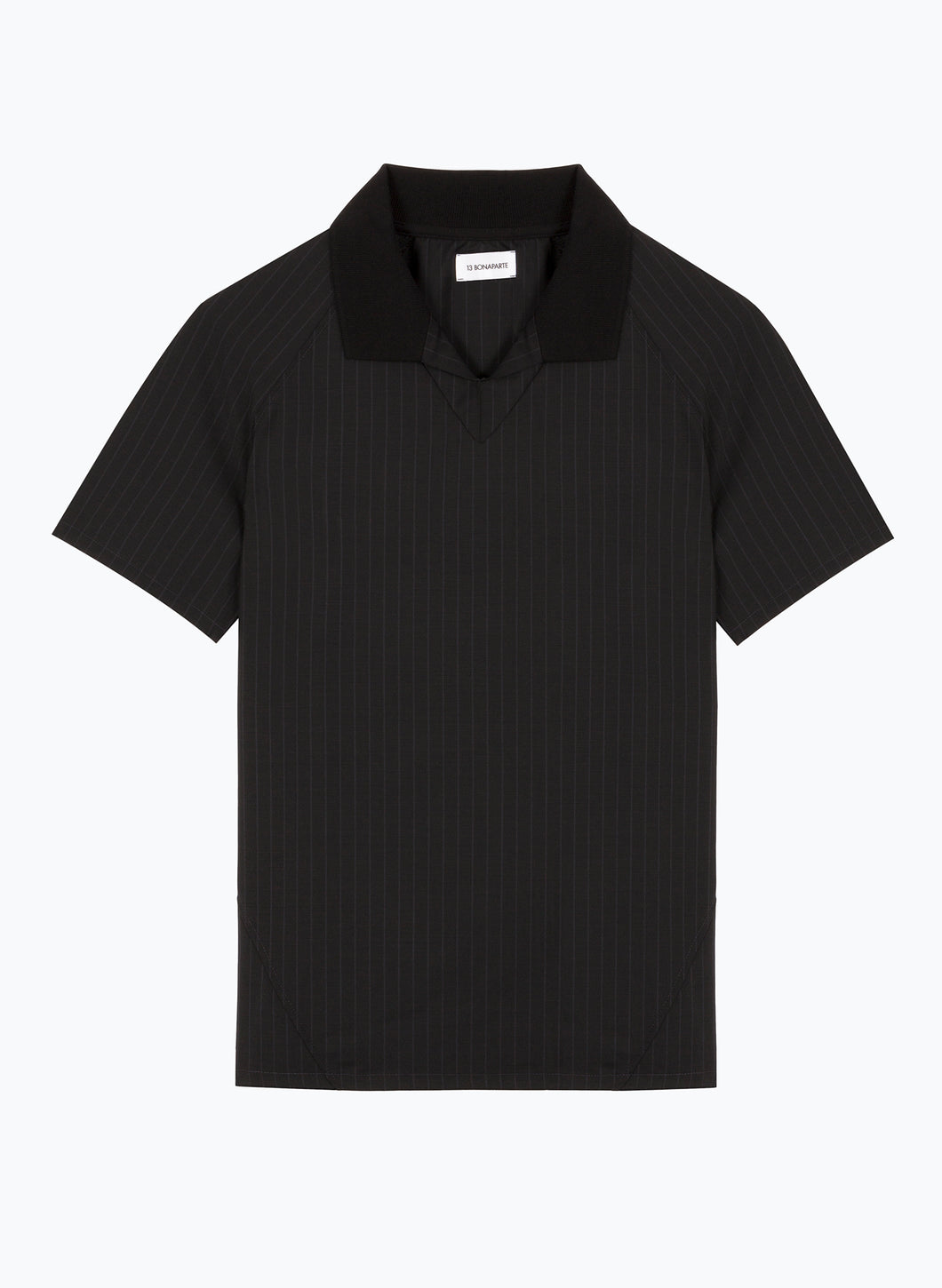 Poloshirt with Edge-Ribbed Collar in Black Striped Cool Wool