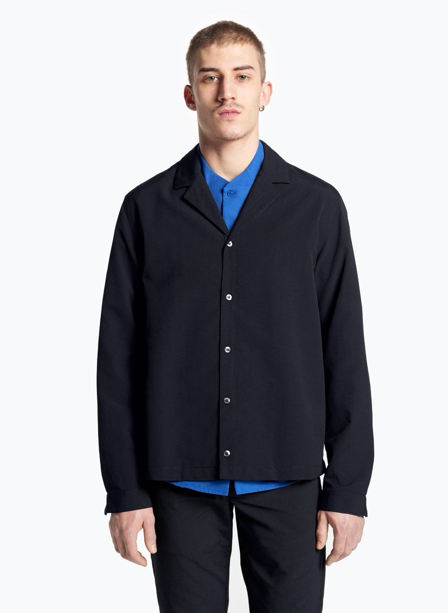 Tailor Collar Overshirt in Black Ripstop