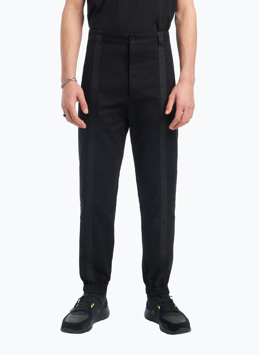 Pants with Vertical Bands in Black Gabardine with Black Cotton Trim