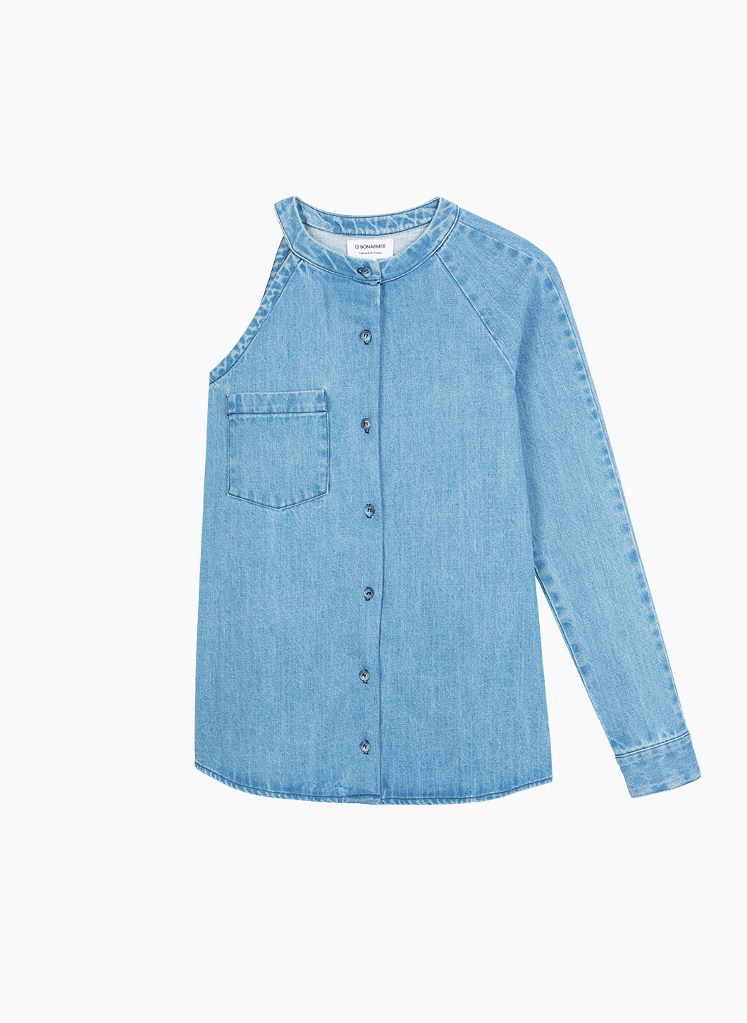 Asymmetrical Shirt in Bleached Denim