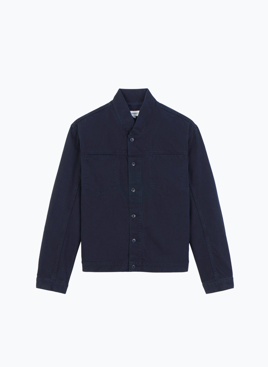 False Collar Jacket in Navy Blue Denim