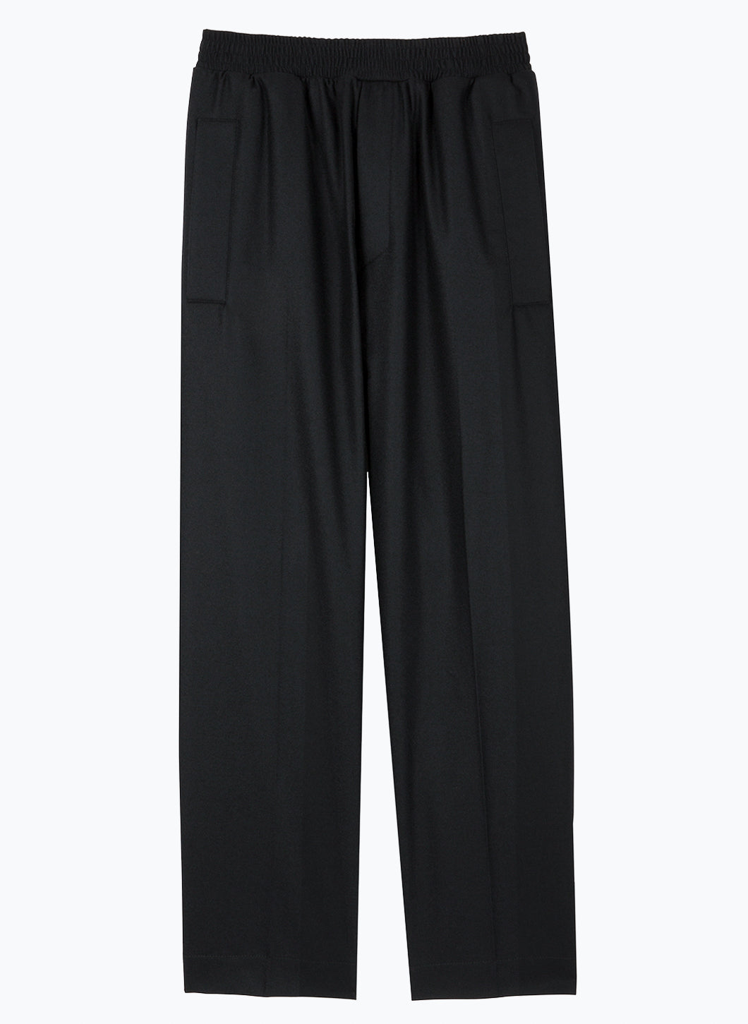 Pants with Large Elastic Waist in Black Flannel Wool